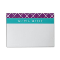 Purple Trellis Pattern Turquoise Name Post-it Notes