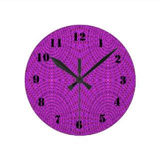 Purple trendy circle pattern round clock