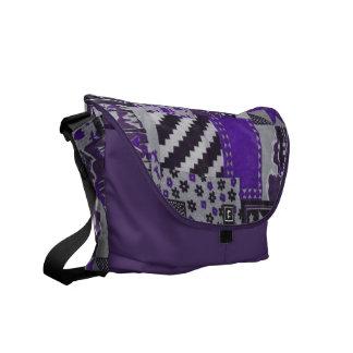 Purple Trendy Patch work quilt messeger bag purse