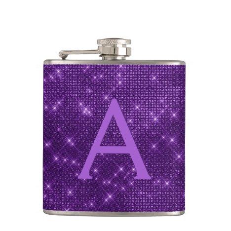 Purple Trendy Sparkle Monogram Initial Flask