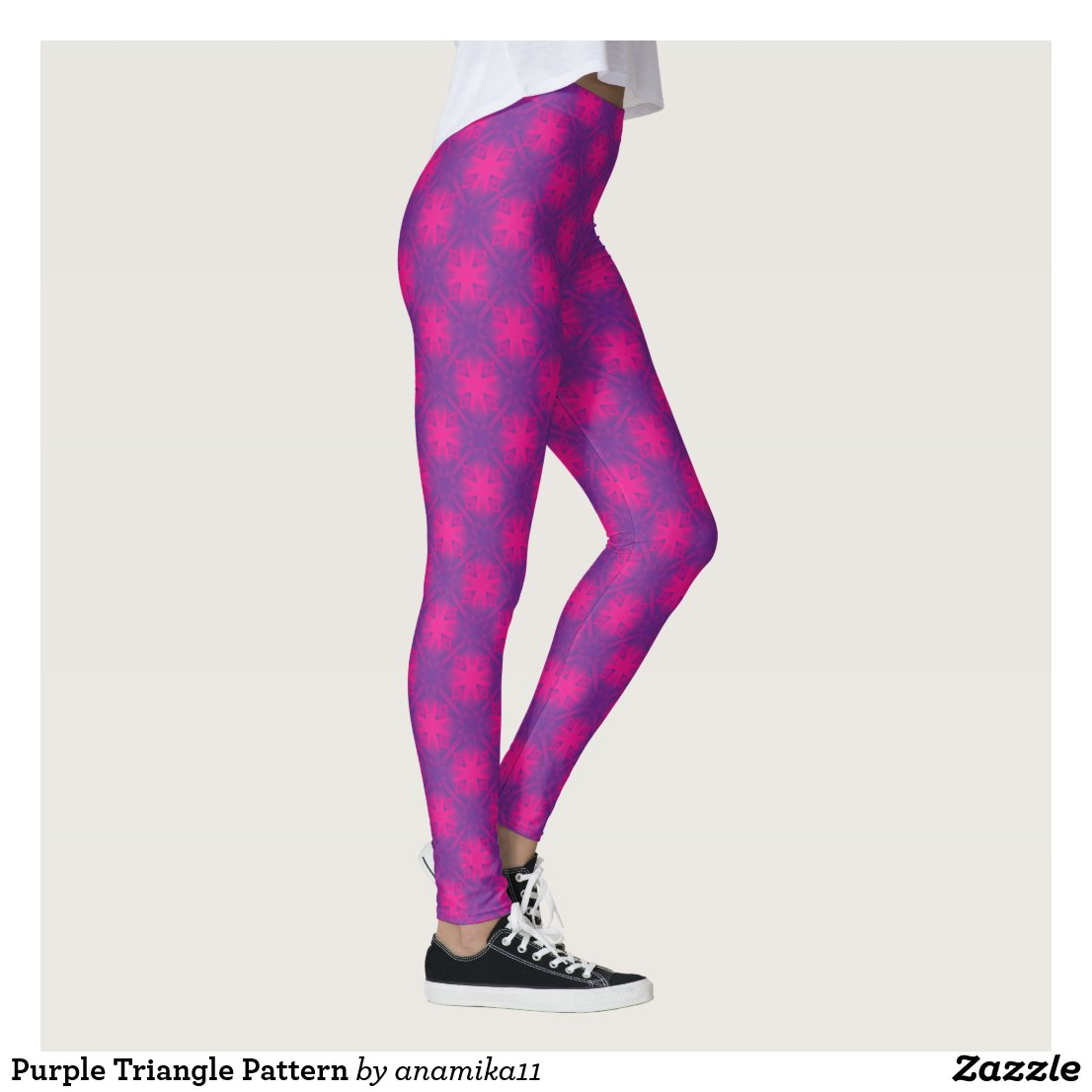Purple Triangle Pattern Leggings