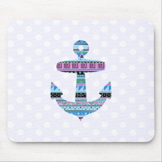 Purple Tribal Anchor and polka dots Mousepad