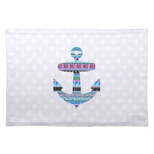 Purple Tribal Anchor and polka dots Placemat