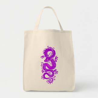 Purple Tribal Chinese Dragon Tote Bag