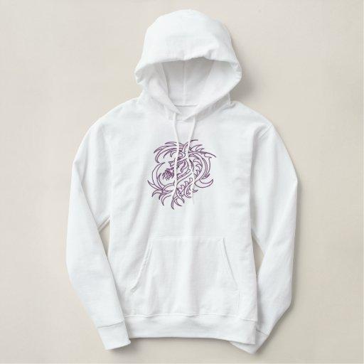 Purple tribal dragon embroidered hoodie