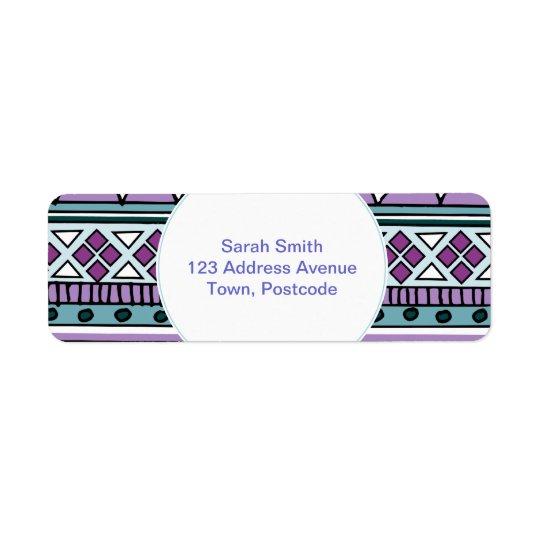 Purple tribal pattern label