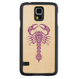 Purple Tribal Scorpion on White Carved Maple Galaxy S5 Case