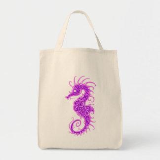 Purple Tribal Seahorse Canvas Bag