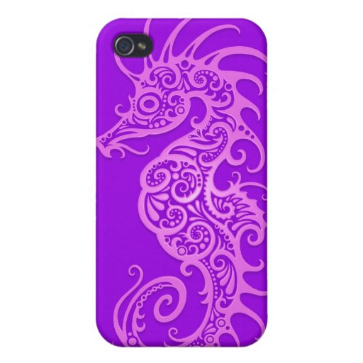 Purple Tribal Seahorse Cover For iPhone 4