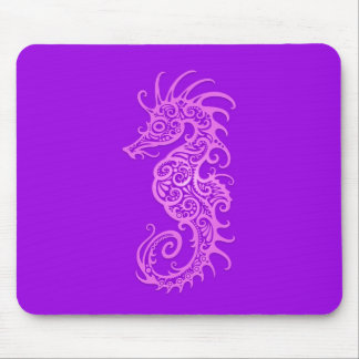 Purple Tribal Seahorse Mouse Pad