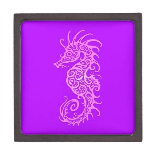 Purple Tribal Seahorse Premium Jewelry Boxes