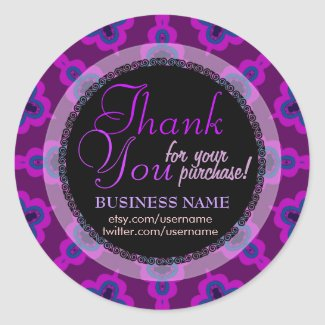 Purple Tribal Star Business Thank You Sticker