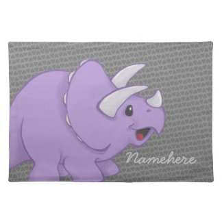 Purple Triceretops Dinosaur Placement with Name Placemat