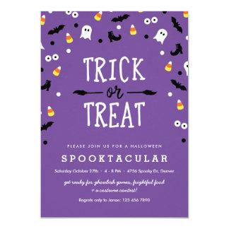 Purple Trick or Treat Kids Halloween Party Invites