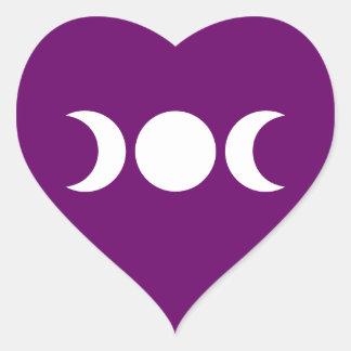 Purple Triple Goddess Heart Sticker