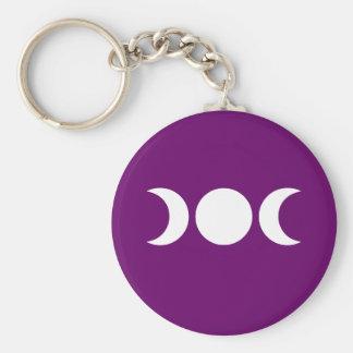 Purple Triple Goddess Basic Round Button Keychain