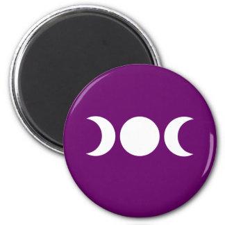 Purple Triple Goddess 2 Inch Round Magnet