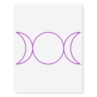Purple Triple Moon Goddess Symbol Temporary Tattoo