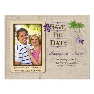 Purple Tropical Destination Photo Save The Date Postcard