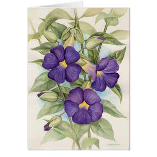 Purple Tropical Flower Painting - Multi Card