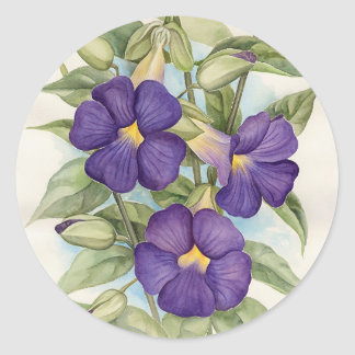 Purple Tropical Flower Painting - Multi Classic Round Sticker