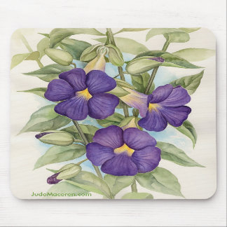 Purple Tropical Flower Painting - Multi Mouse Pad