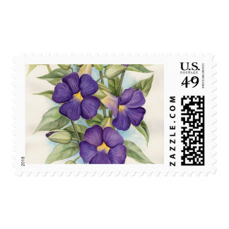 Purple Tropical Flower Painting - Multi Postage Stamps