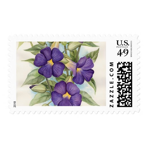 Purple Tropical Flower Painting - Multi Postage Stamp