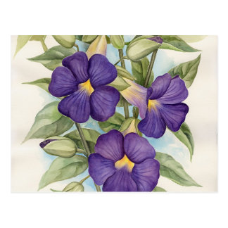 Purple Tropical Flower Painting - Multi Postcard