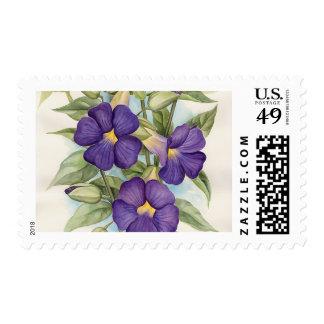 Purple Tropical Flower Painting - Multi Stamp