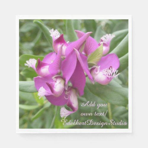 Purple Tropical Flowers Paper Napkins