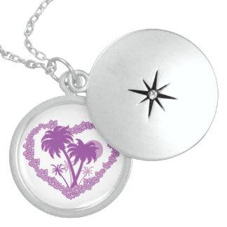 Purple Tropical Heart Locket Necklace