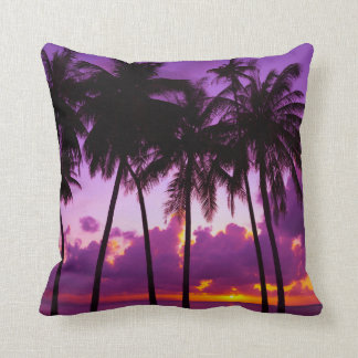Purple Tropical Sunset 2 Throw Pillow