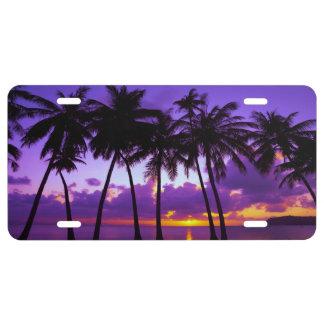 Purple Tropical Sunset 3 License Plate