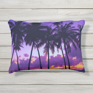Purple Tropical Sunset 3 Outdoor Accent Pillow