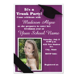 Purple Trunk College Party Photo Card