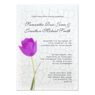 Purple Tulip and Crackle Paint Wedding Invitation