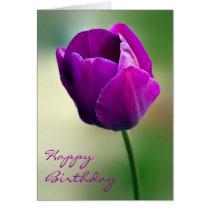 Purple Tulip Birthday Card