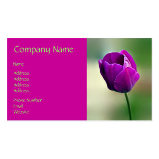 Purple Tulip Double-Sided Standard Business Cards (Pack Of 100)