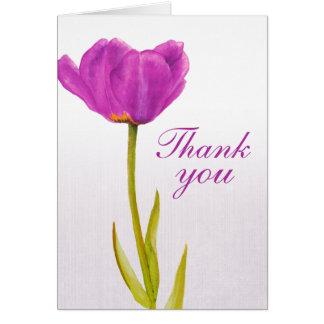 Purple tulip fine art wedding thank you card