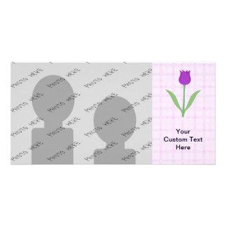 Purple Tulip Flower. Card