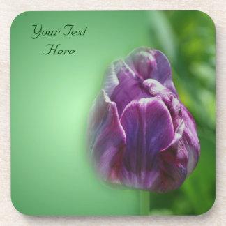 Purple Tulip Flower Nature Coaster Set
