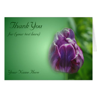 Purple Tulip Flower Nature Thank You Card