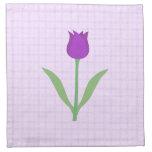 Purple Tulip Flower. Printed Napkin