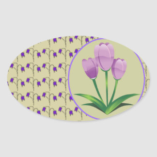 Purple tulip flower vintage pattern cute oval sticker