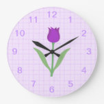 Purple Tulip Flower. Wall Clock