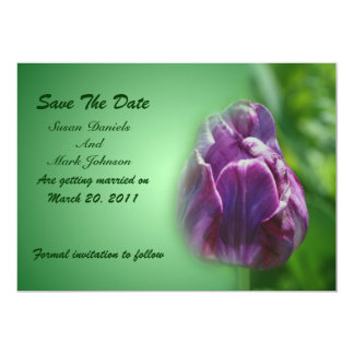 Purple Tulip Flower Wedding Save The Date Card
