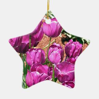 Purple Tulip flowers in bloom 3 Christmas Tree Ornament