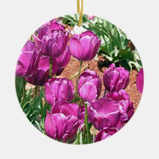 Purple Tulip flowers in bloom 3 Ornament