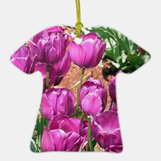 Purple Tulip flowers in bloom 3 Christmas Tree Ornaments